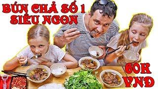 Bun Cha N1 in Vietnam. Super delicious food in a giant bowl | Stefi & Emi Family Vlog