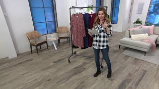 Denim & Co. Printed French Terry Long Sleeve Fit & Flare Dress On QVC