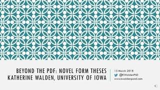 K. Walden, Expanded remarks for Beyond the PDF conference