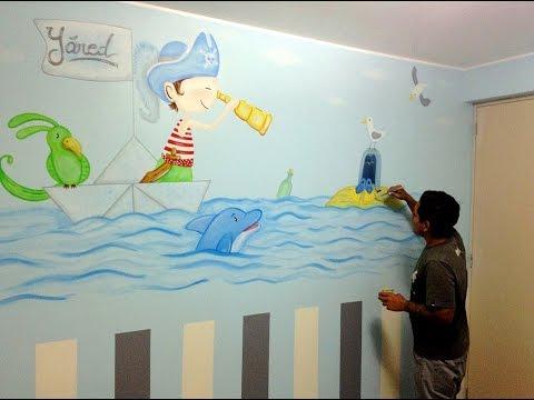 Murales pintados en interiores como decorar la - Murales en habitaciones ...