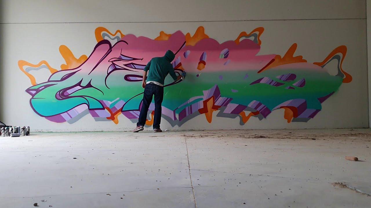 graffiti street art time lapse by emede meos