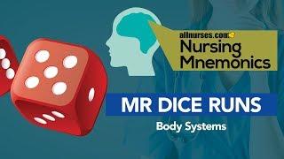 View the video Nursing Mnemonics: MR DICE RUNS - Body Systems