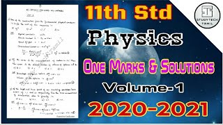 11th Std Physics | One Marks Qestions & Answers Study Materials | Volume-1 | English Medium | 2021 - Download this Video in MP3, M4A, WEBM, MP4, 3GP