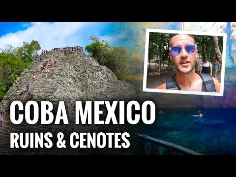 Climbing MAYAN RUINS in COBA and Swimming in CENOTES.