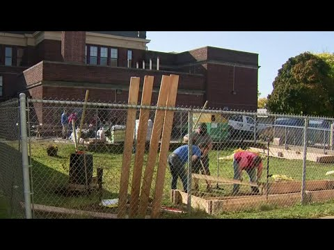Volunteers work to rebuild Detroit elementary school's reading garden