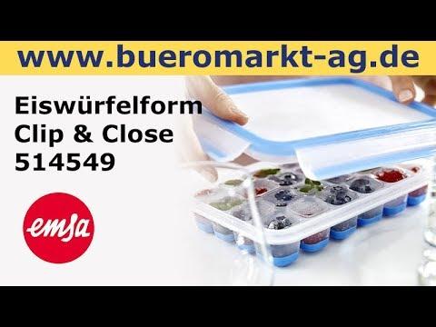 Emsa Eiswürfelform Clip & Close 514549, Eiswürfelbox mit Deckel, flexibler Boden