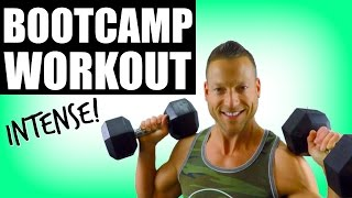 Intense Bootcamp Workout With Weights | Fat Burning Full Body Dumbbell HIIT by Max's Best Bootcamp
