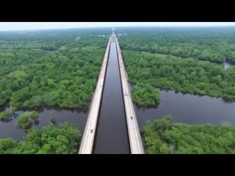 Atchafalaya Basin Bridge. Breaux Bridge, Louisiana.4K. #6