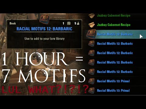 Eso Crafting Motifs Farming