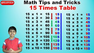 Learn 15 times multiplication table trick | Easy and fast way to learn | Math Tips and Tricks