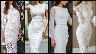 Exclusive And Trendy White Color Lace Summer Wedding Dress/knee Length Middle Sleeve Prom Party Dres