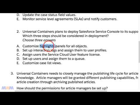 Salesforce Service Cloud Consultant Test Question #2 - YouTube
