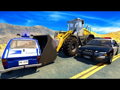 CRAZY POLICE CHASES AND TAKE DOWNS VS HUGE VEHICLES! - BeamNG Drive Crash Test Compilation Gameplay!