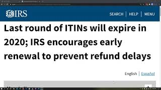 Last round of ITINs will expire in 2020; IRS encourages early renewal to prevent refund delays