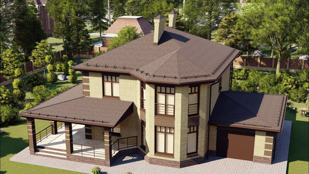Проект большого двухэтажного дома с эркером, гаражом и террасой