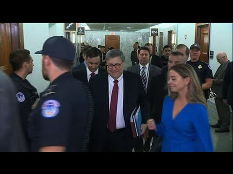 Attorney General William Barr arrives on Capitol Hill Wednesday morning ahead of his testimony before the Senate Judiciary Committee defending his handling of special counsel Robert Mueller's Russia report. (May 1)