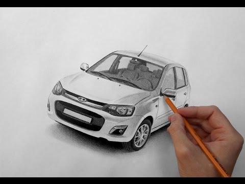 Рисунок карандашом автомобиля 'Лада калина'.