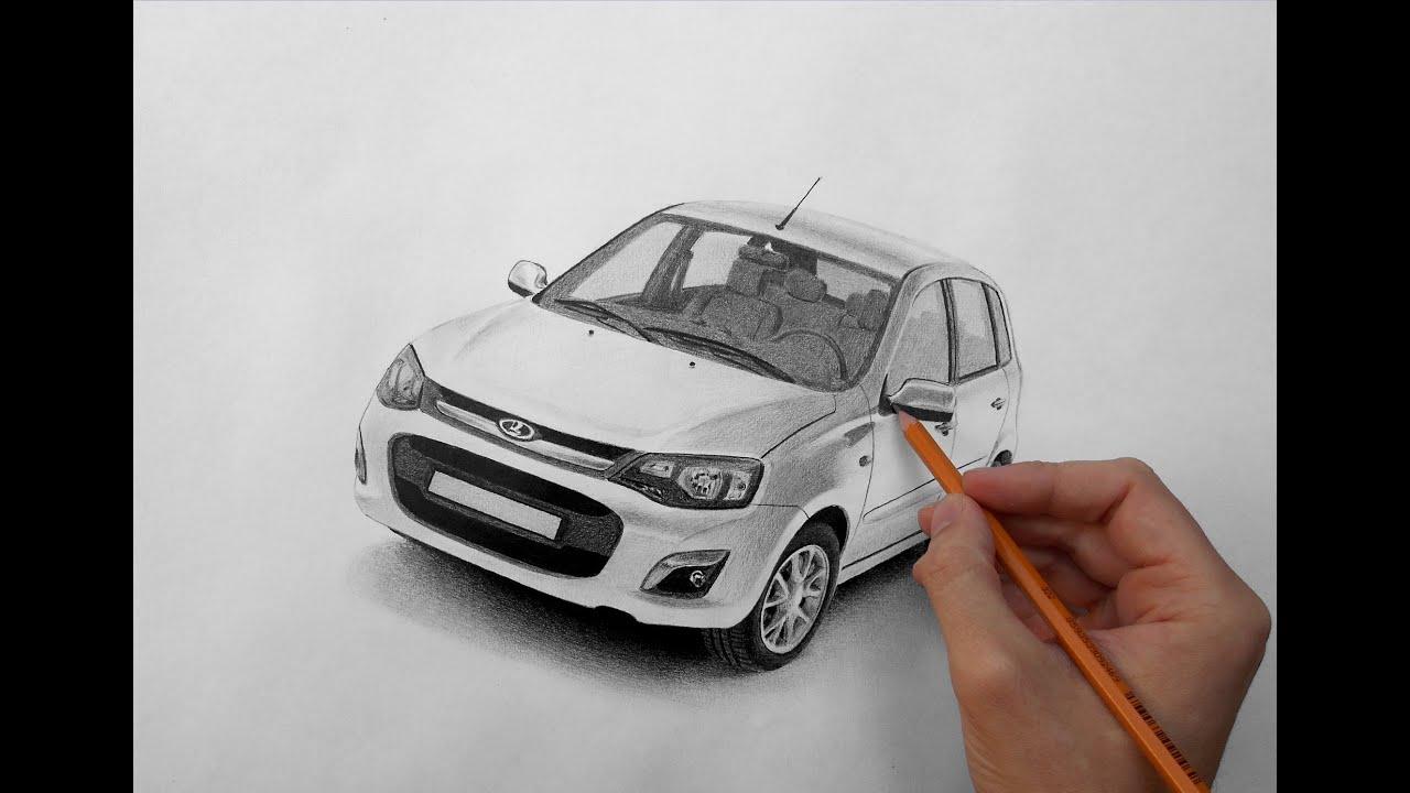 Рисунок карандашом автомобиля лада калина.