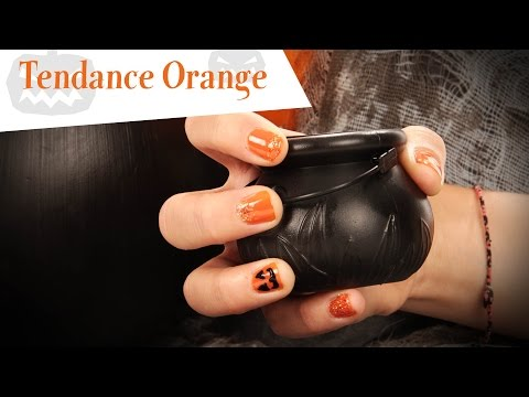 Tutoriel Nail Art orange pour Halloween