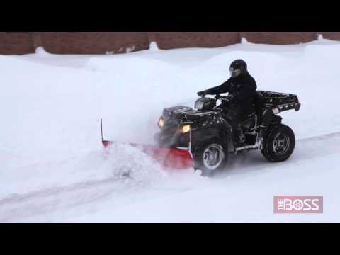 BOSS ATV Straight Blade Plow in Action