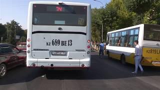 Два пассажирских автобуса стали участниками дорожно – транспортного происшествия в Шымкенте.