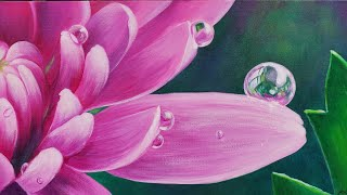 Flower With Dew Drops Acrylic Painting LIVE Tutorial