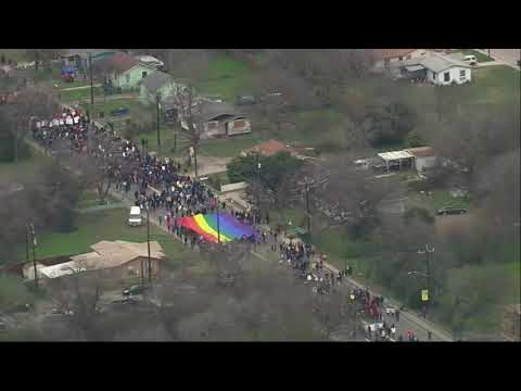 One of the country's largest Martin Luther King, Jr. Day March is underway in San Antonio, Texas. It's considered one of the largest in the nation, with approximately 300,000 participants, and stretches nearly three miles. (Jan. 21)