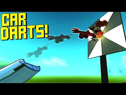 Explosive Car Darts Contest Using a Giant Ski Jump! - Scrap Mechanic Multiplayer Monday