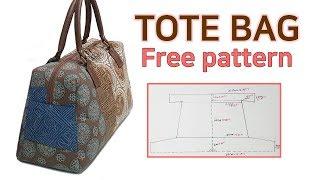 DIY Simple Tote Bag/Tote Bag Tutorial/Free Pattern/한장 패턴으로 토트백 만들기/패턴공유/