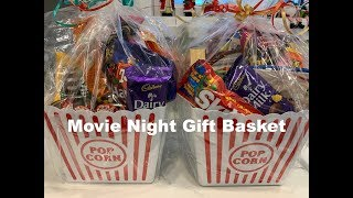 Dollar Tree Movie Night Christmas Basket. Affordable Homemade Gifts.