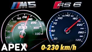 2018 BMW M5 vs. Audi RS6 Performance - Acceleration Sound 0-100, 0-230 km/h | APEX