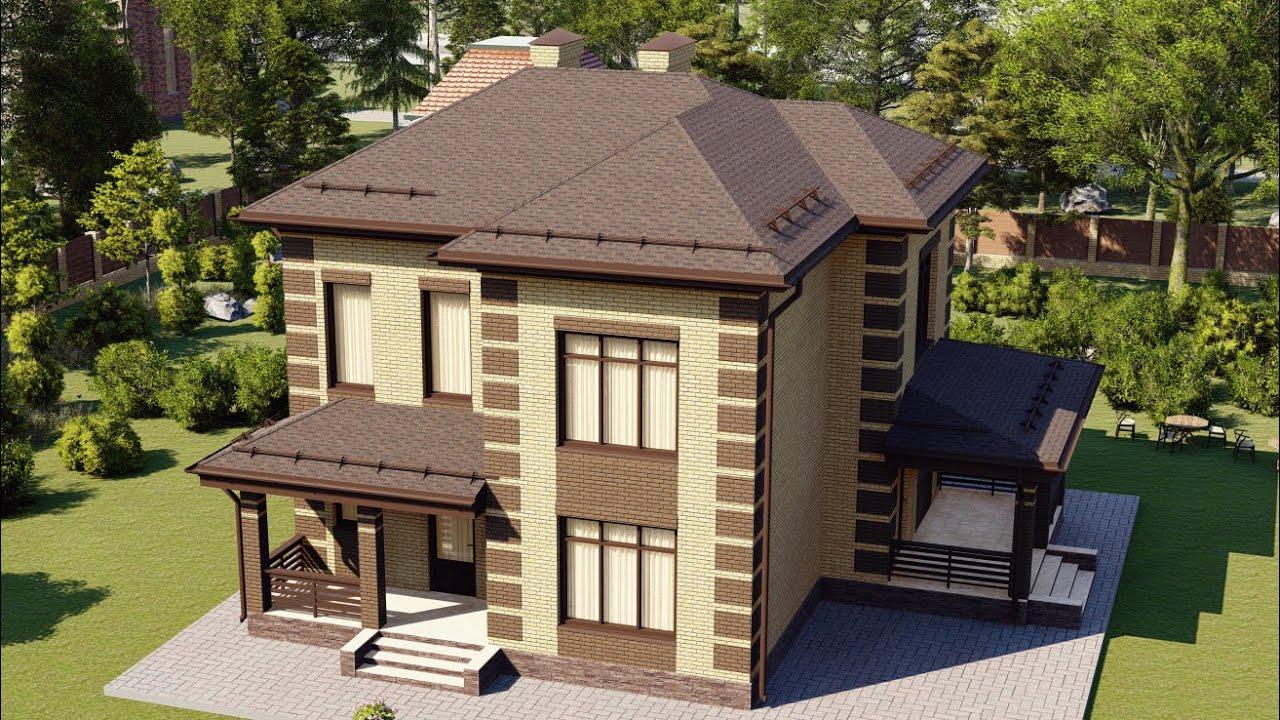 Проект красивого небольшого дома из газобетона с террасой 10х12 156 м2