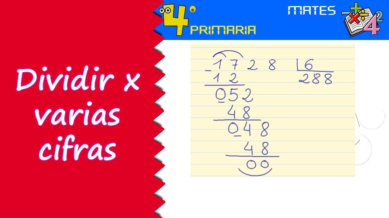 Matemáticas. 4º Primaria. Tema 4. Divisiones por más de una cifra