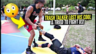 Trash Talker Dragged Us Across THE PAVEMENT & Tried To Start a FIGHT!! Ballislife Squad HEATED 5v5!