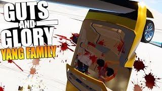 Guts And Glory - YANG FAMILY MURDERED IN GIANT BLENDER, 3D HAPPY WHEELS - Funny Moments Gameplay