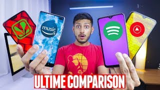 Spotify vs Saavn vs Youtube Music vs Amazon Music   BAWAL COMPARISON ! 🔥🔥🔥