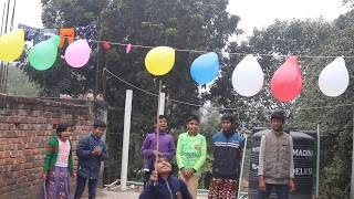 outdoor village kids fun with balloon and learn colors for kids