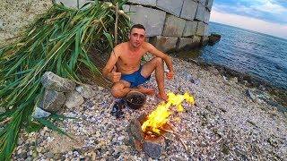 Выживание 24 часа на берегу Черного моря Ловлю мидий Строю шалаш