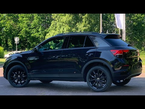 Volkswagen NEW T-roc Black Style 2021 in 4K Deep Black 18 inch Grange Hill Walk around & inside