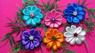 Membuat Bunga Dari  Pita Satin // Diy // Kanzashi Ribbon // Bros // Jepit Rambut // Bunga //