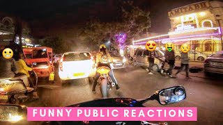 Girl Riding Loud Superbike In Market !! Funny Public Reactions