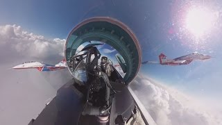 Su-27 cockpit 360 video: 'Russian Knights' aerobatic rehearsals for V-Day parade