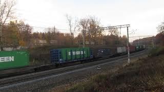Электровоз ВЛ11-409 с грузовым поездом перегон Латышская-Нара 14.10.2018