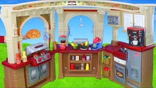 Kitchen Toys w/ Play Doh Pretend Cooking Food, Mixer & Velcro Cutting Fruits Playset for Kids
