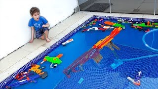 Sink or Float in The pool with Nerf Toys