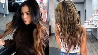 Full Highlights For Dark Hair | Full Blown Highlights With Color |  Come To The Salon With Me