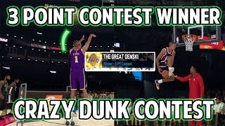 NBA 2K19 MYPLAYER WINS 3 POINT CONTEST WITH GREENLIGHT JUMPSHOT! CRAZY DUNK CONTEST DUNKS!