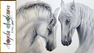 White Horses Acrylic Painting LIVE Tutorial