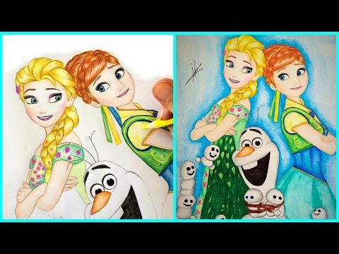 how to draw elsa and anna