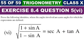 Exercise 8.4 Ques 5 Part 6 Introduction to Trigonometry Class 10 Maths